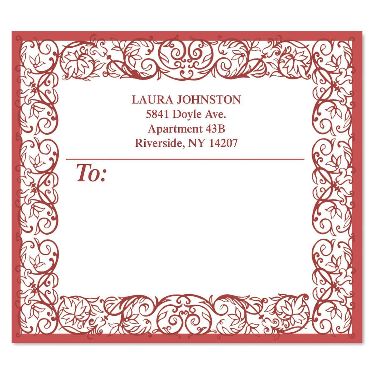 Red Toile Package Labels