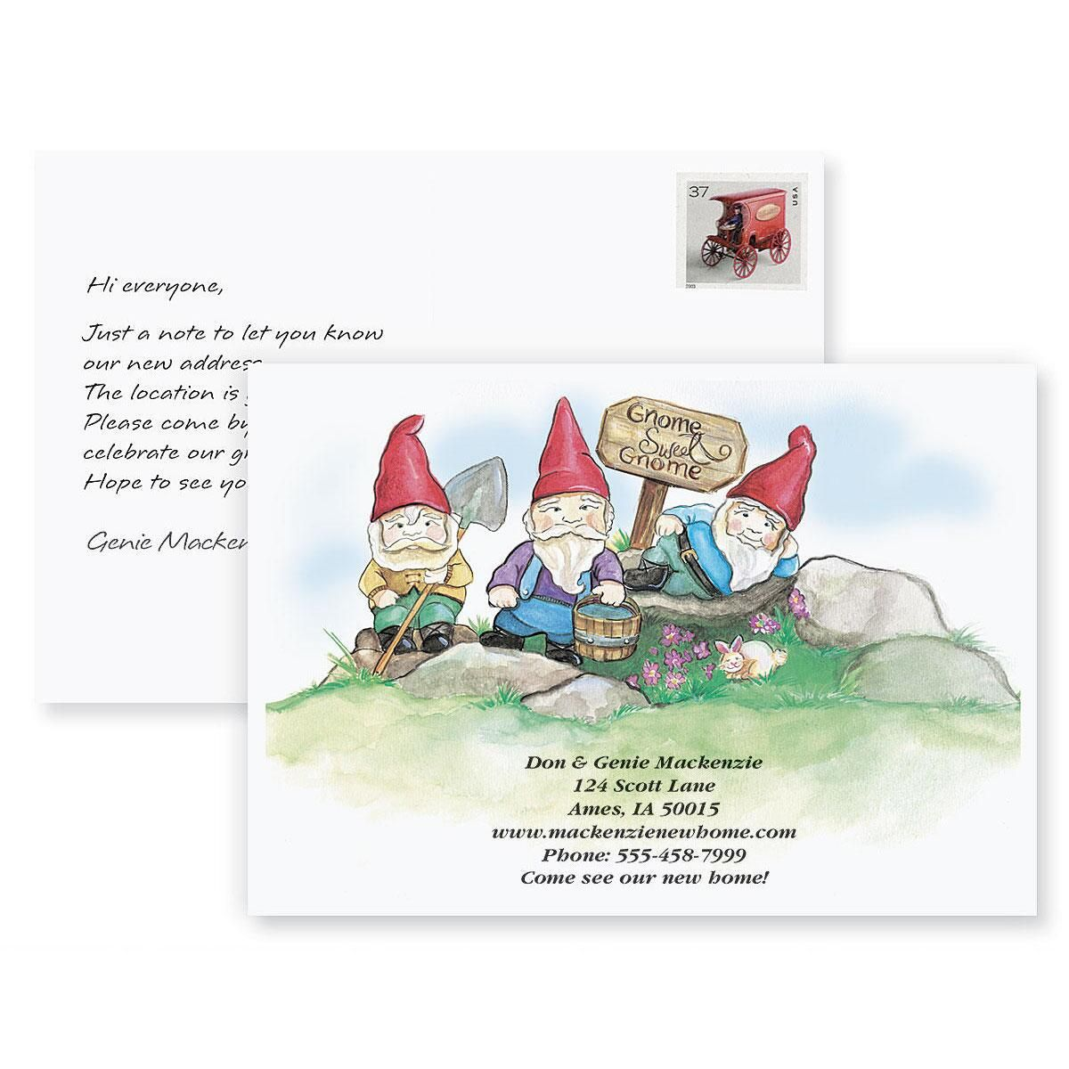 Gnome Sweet Gnome New Address Postcards | Colorful Images