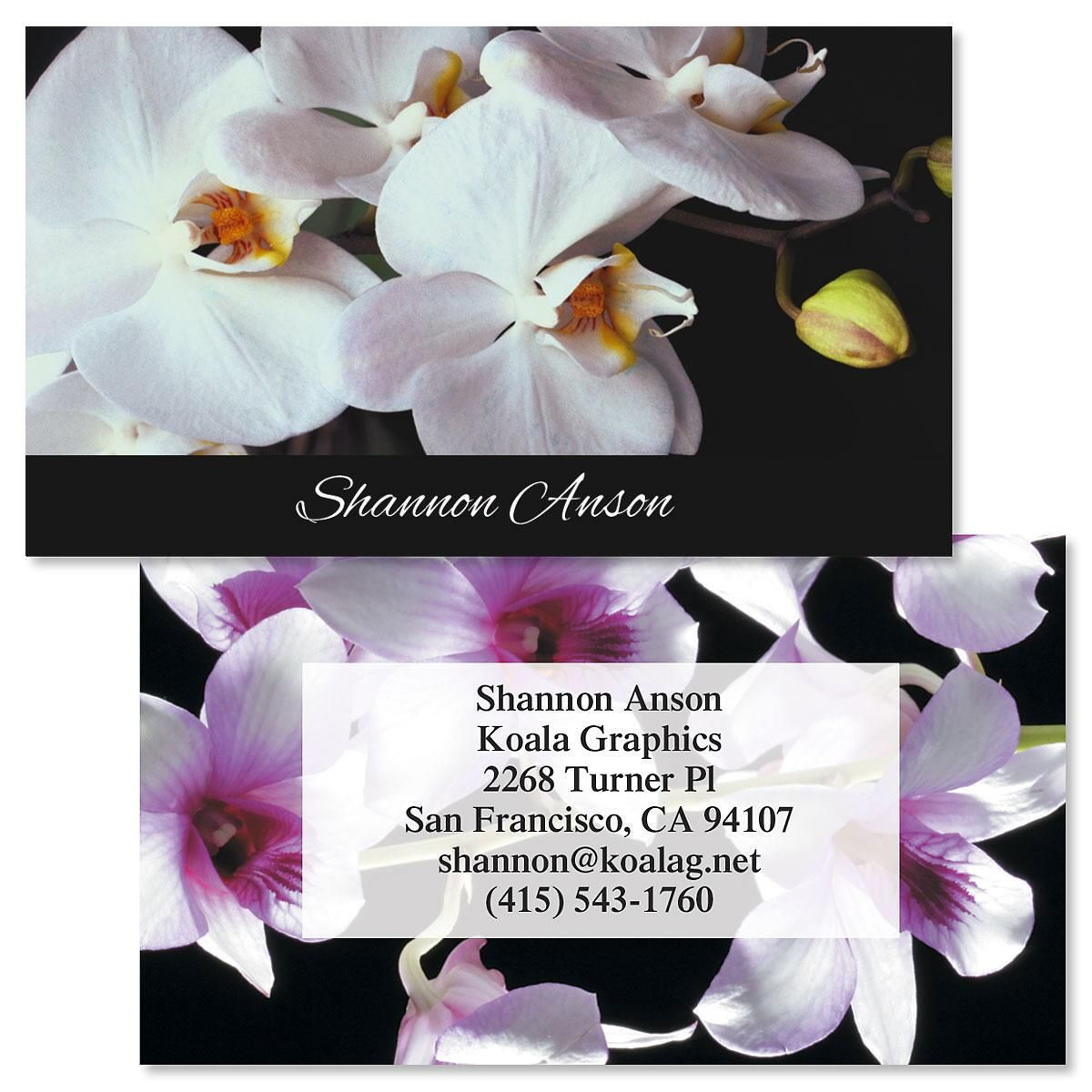 Orchids on Black Double-Sided Business Cards