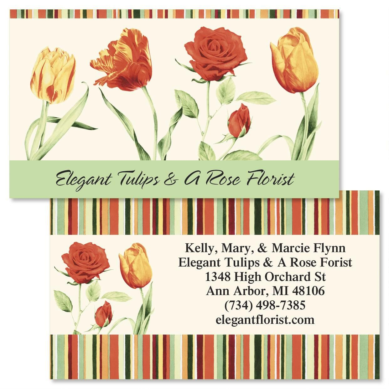 Elegant Tulips Double-Sided Business Cards