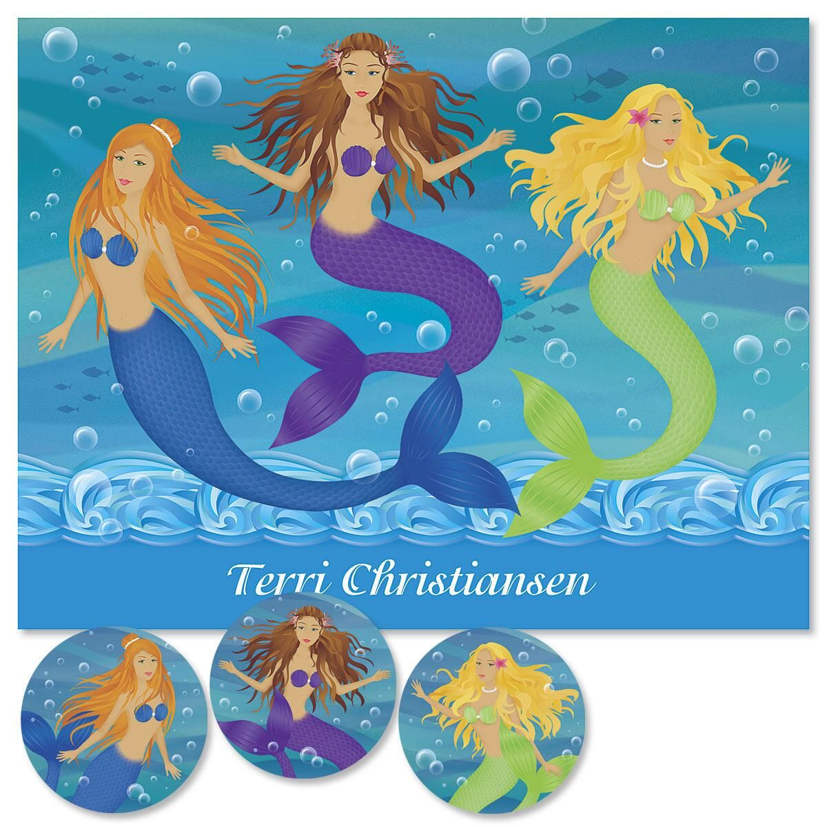 Mermaids  Personalized  Note Cards