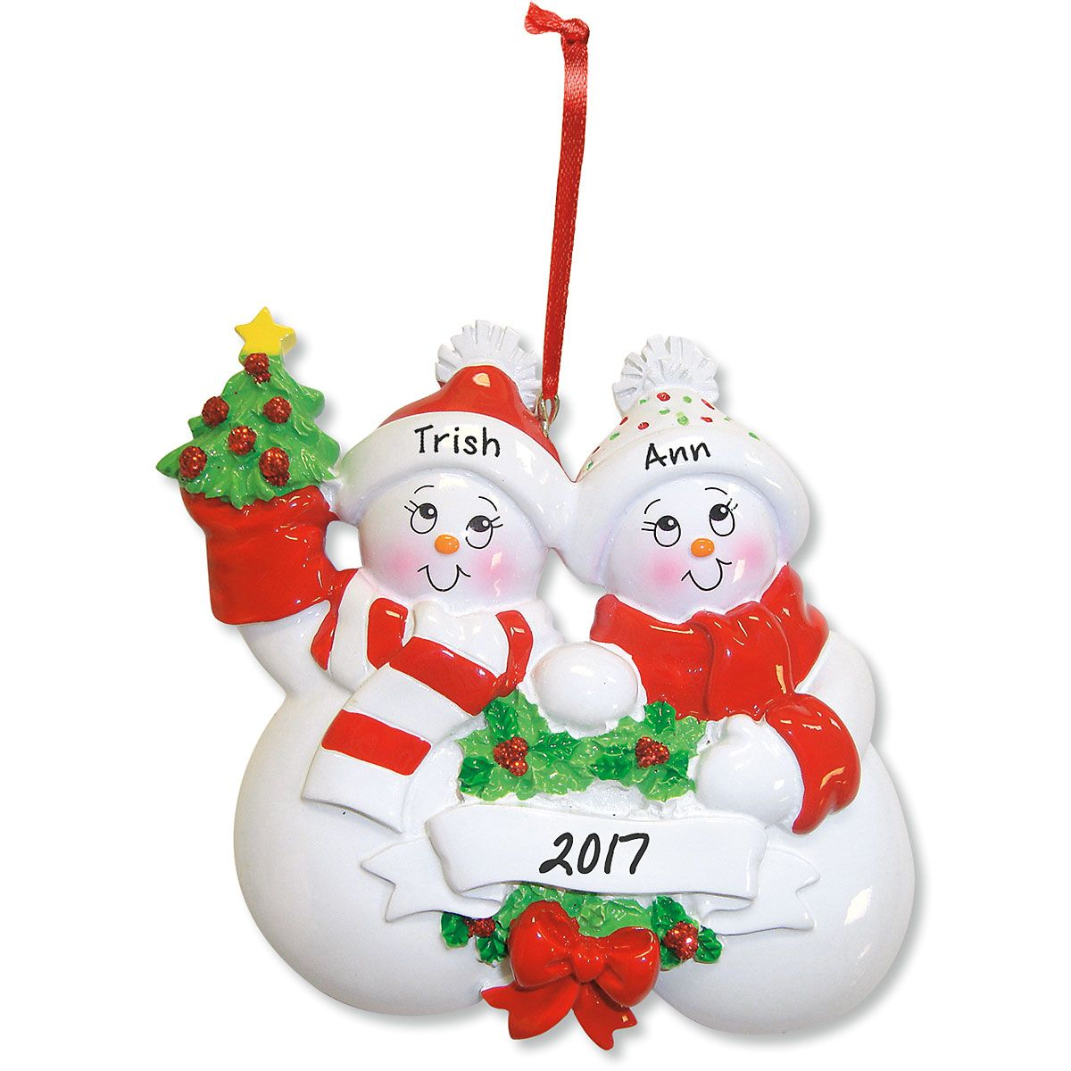 Glittered Snowman Personalized Christmas Ornaments