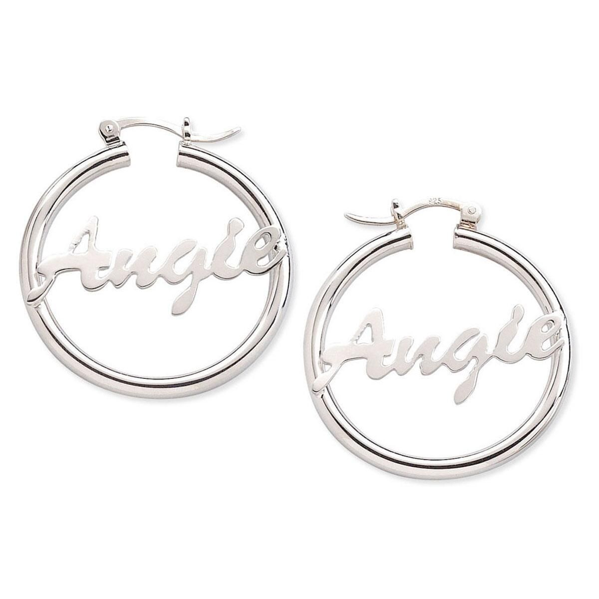 Sterling Silver Personalized Hoop Earrings