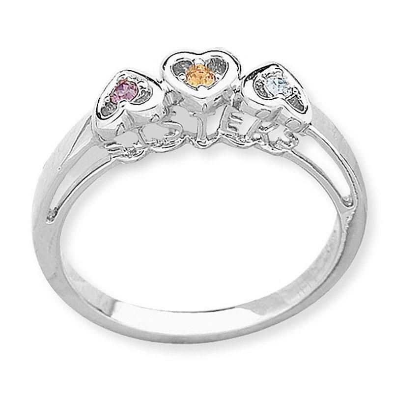 Sterling Silver Sisters Birthstone Ring