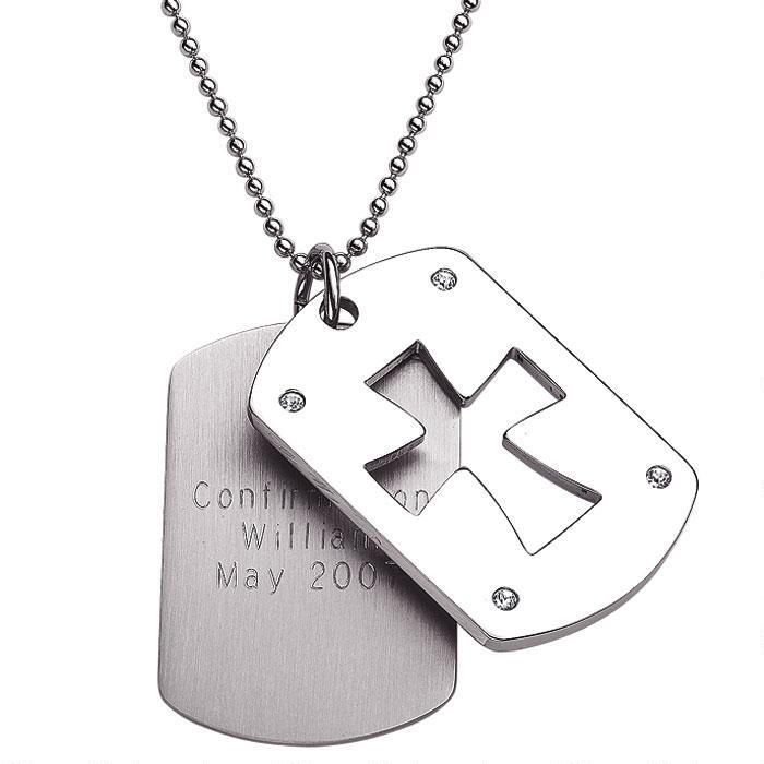 Stainless Steel  Double Dog Tag Cross Necklace