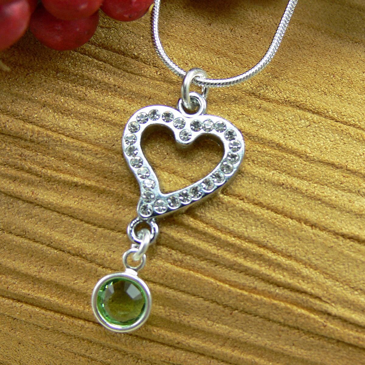 Birthstone  Crystal Heart Necklace