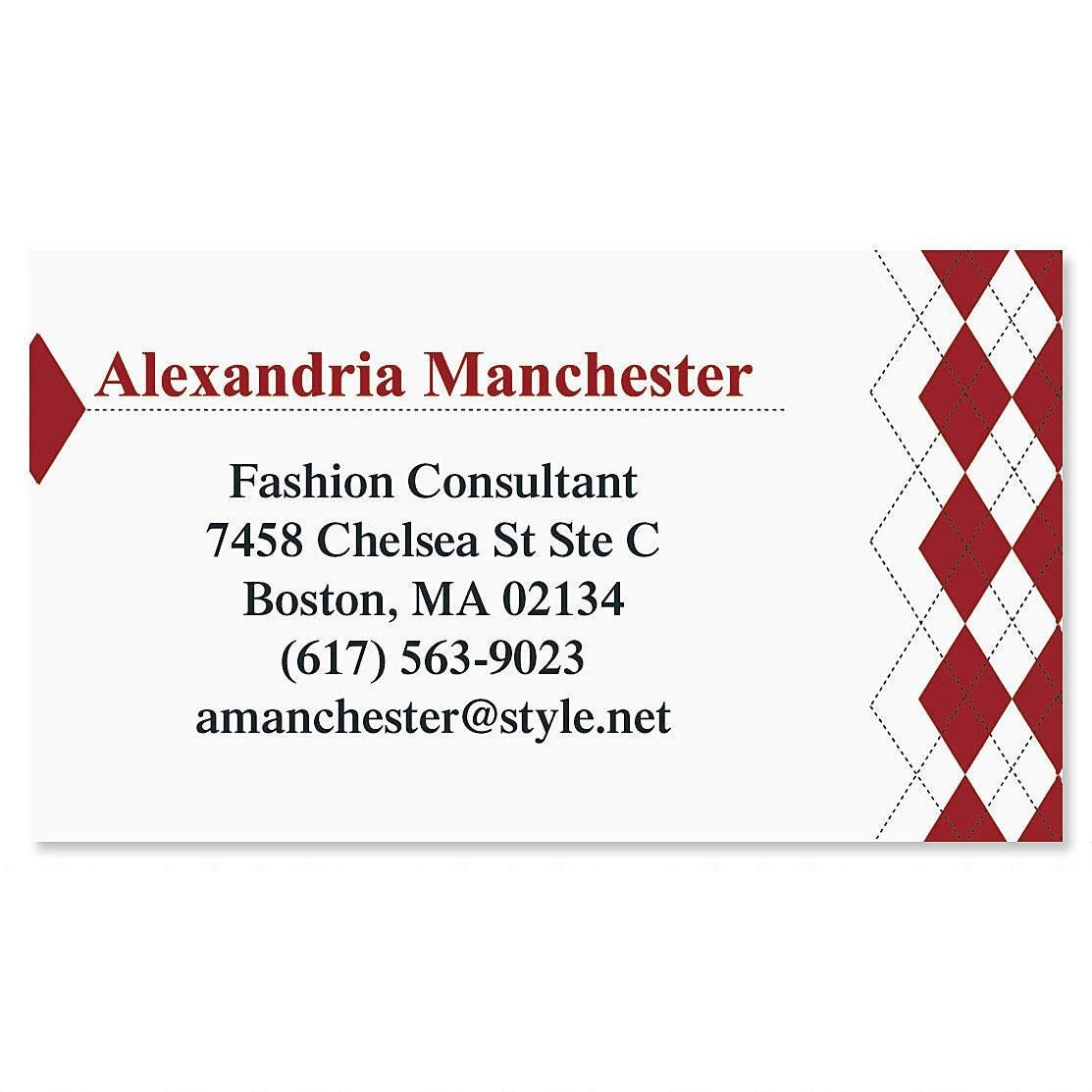 Red Argyle Business Cards