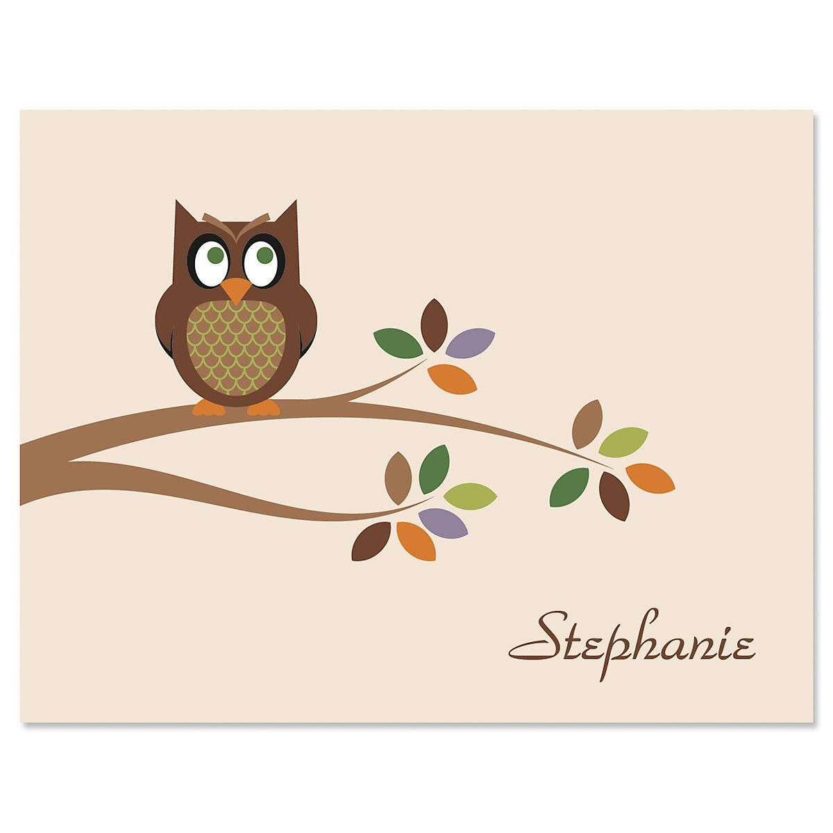 Owl  Personalized  Note Cards