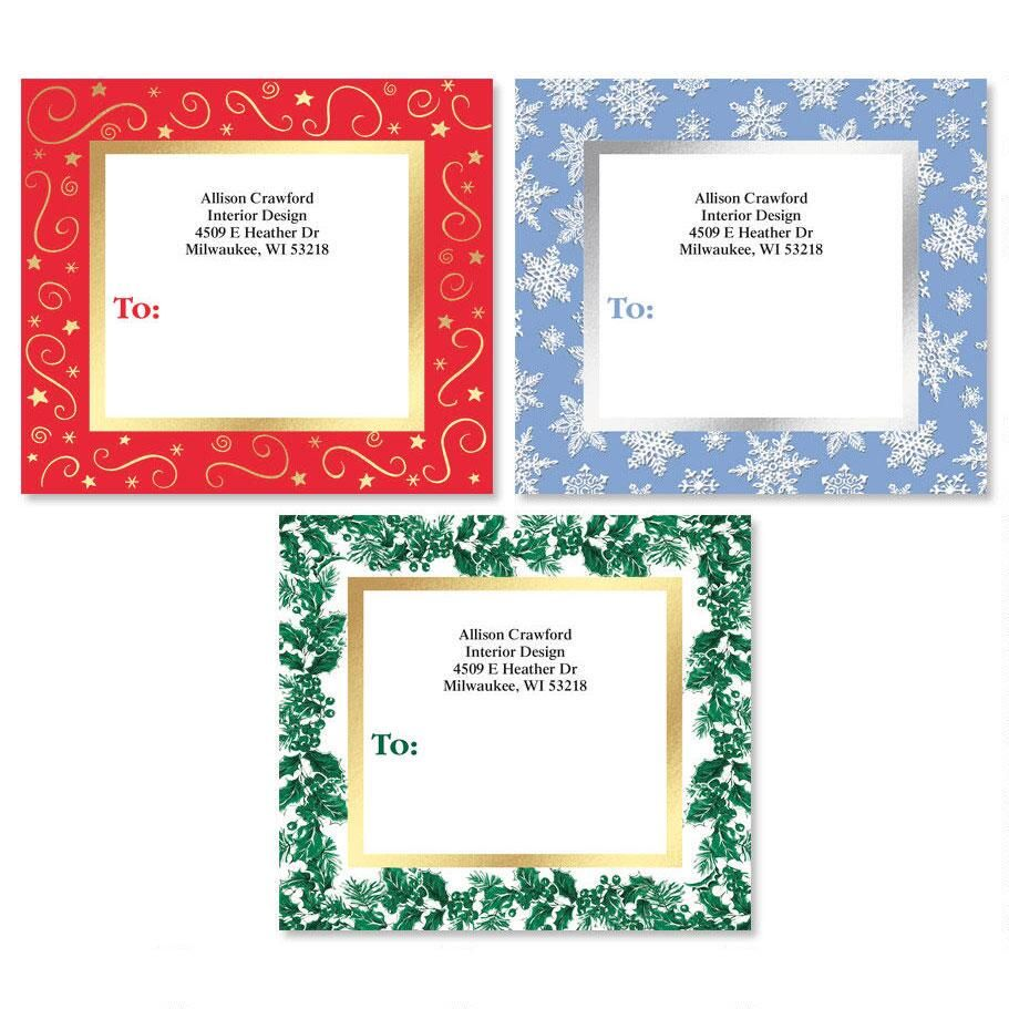 christmas border package labels