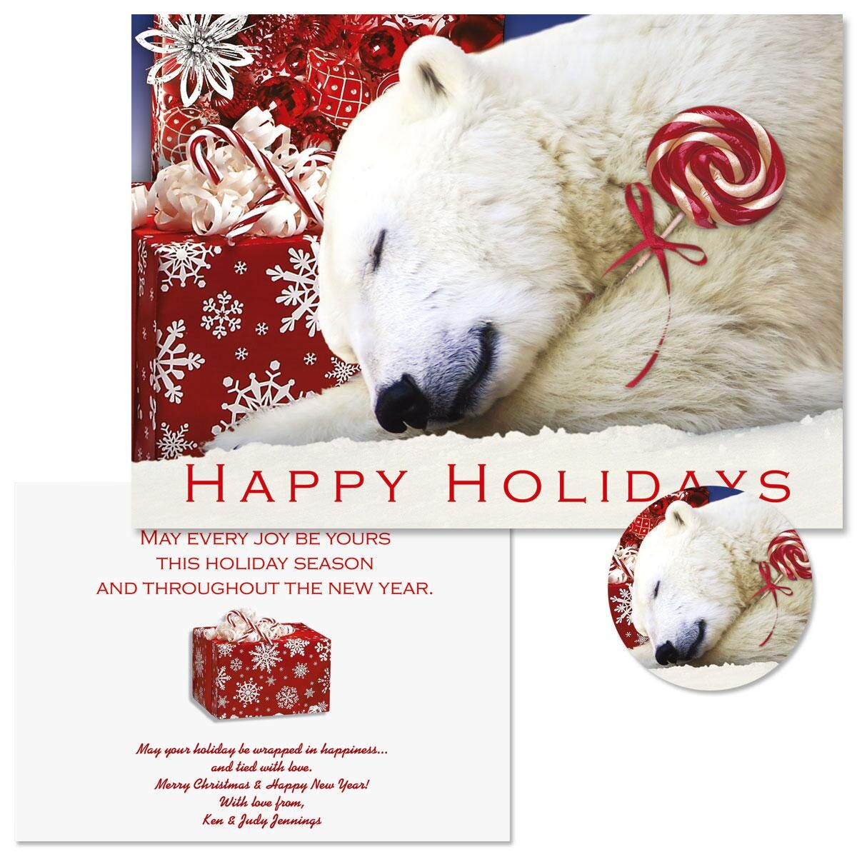 Polar Bear Christmas Christmas Cards -  Personalized