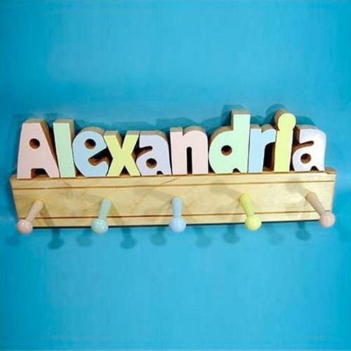 Pastel Letters Personalized  Coat Rack