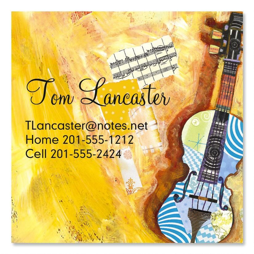 Musical Collage  Square Business Cards