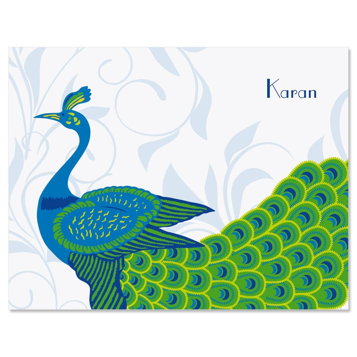 Peacock Luxe Personalized Note Cards