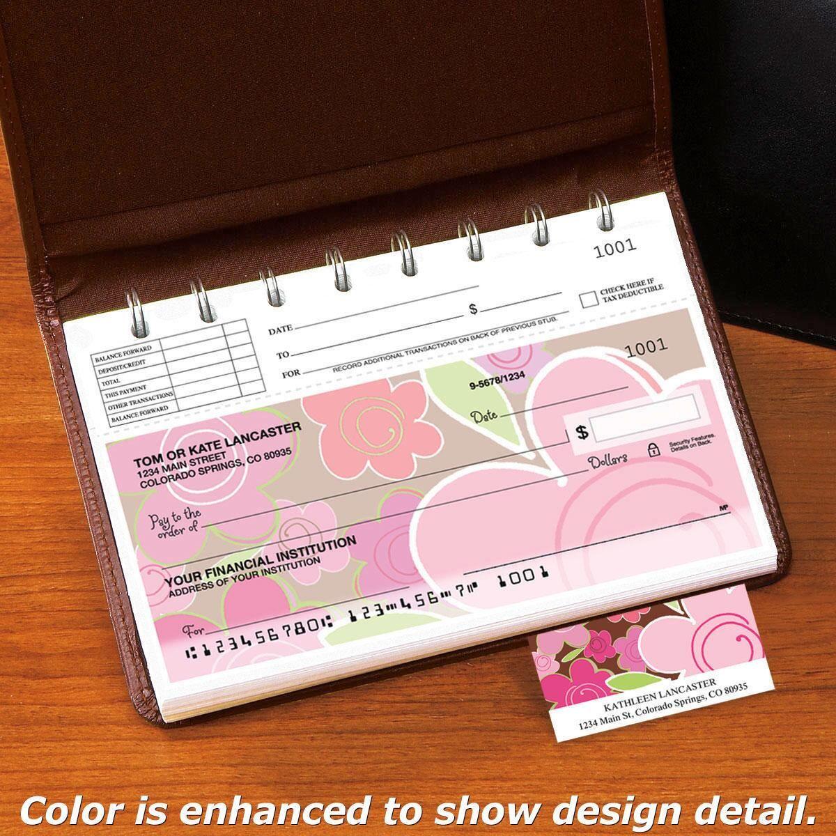 Shades of Pink Top-Stub Personal Checks