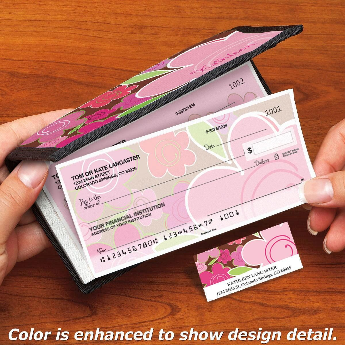 Shades of Pink Side-Tear Personal Checks