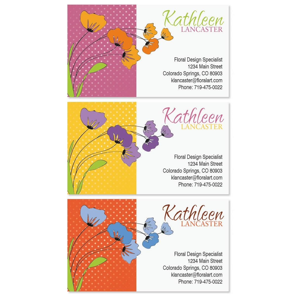 Wild Poppies Business Cards  (3 colors)