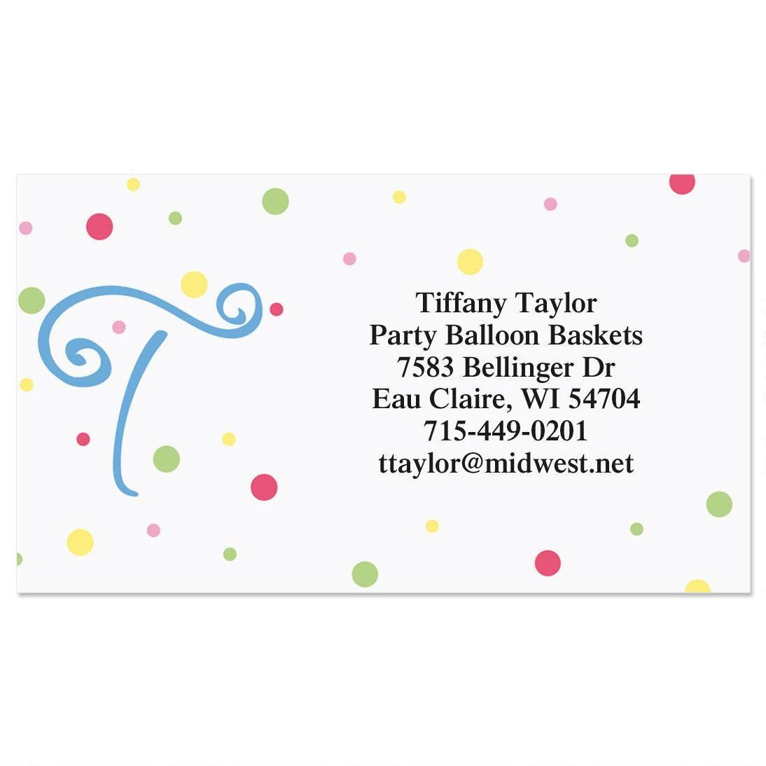 Splatter Dot Initial Business Cards