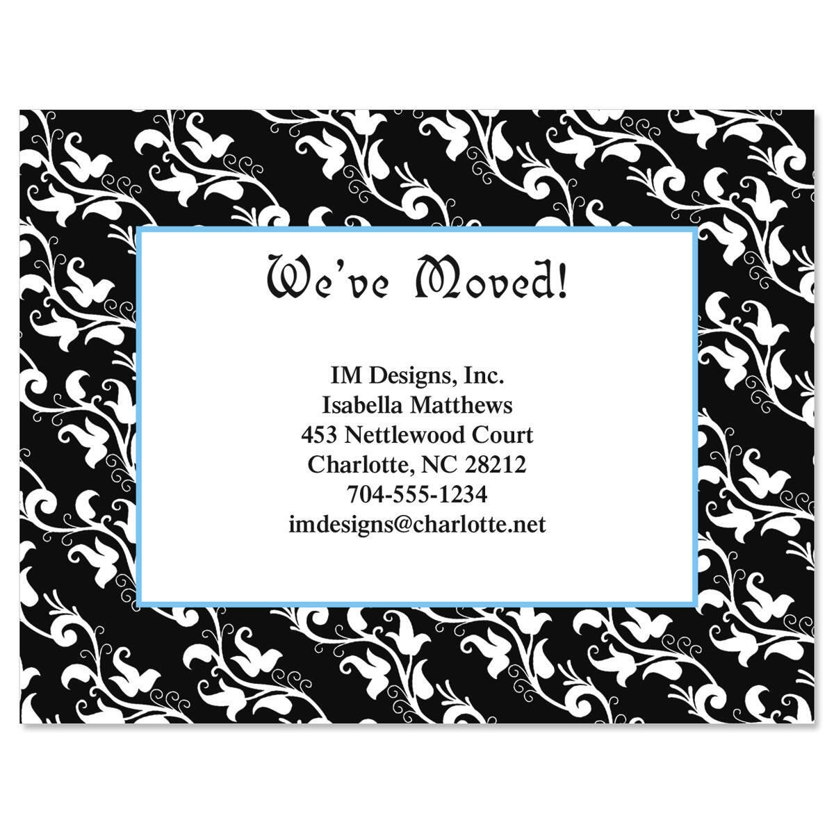 Black Elegance We've Moved Postcards  (3 Designs)