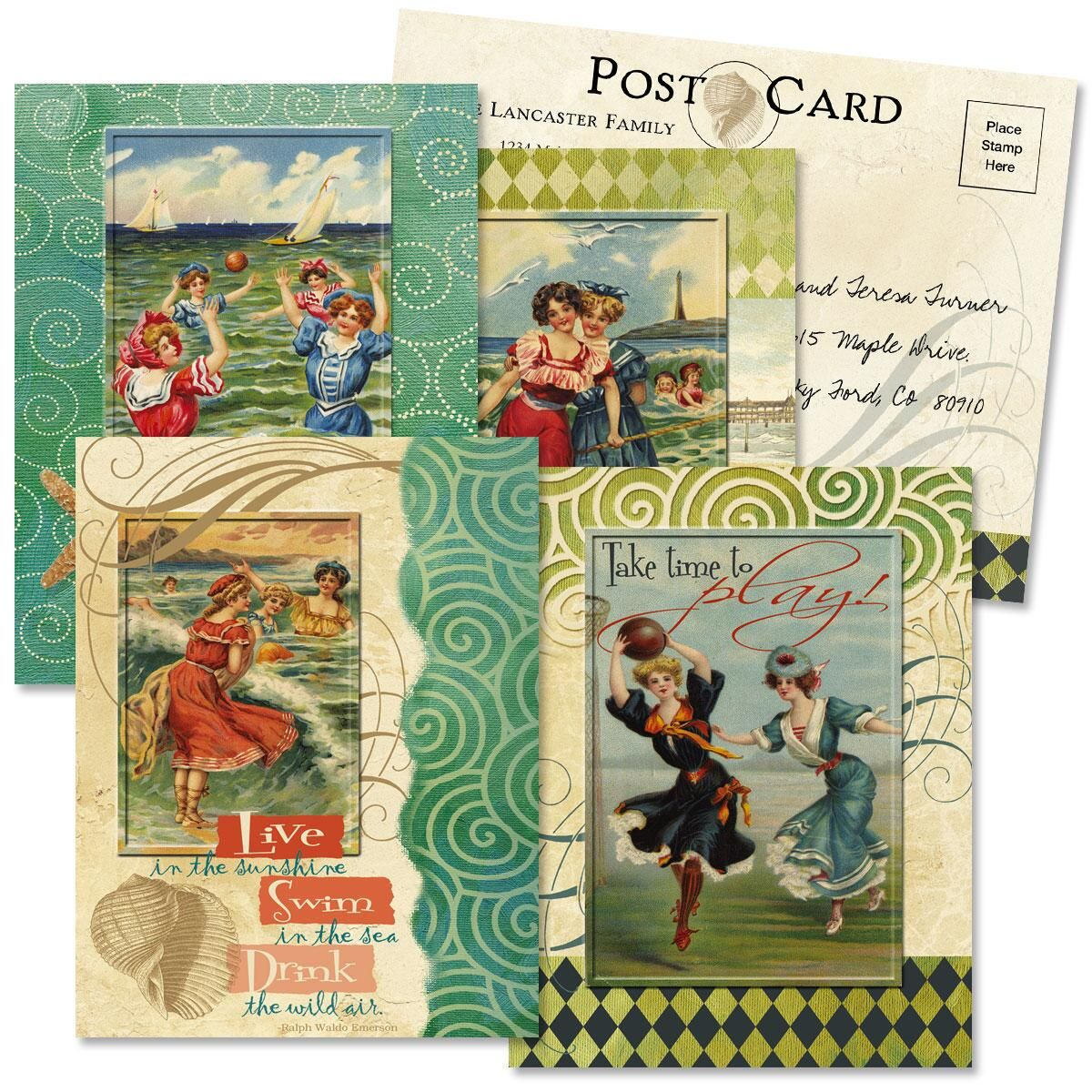 Seaside Collage Correspondence Postcards  (4 Designs)