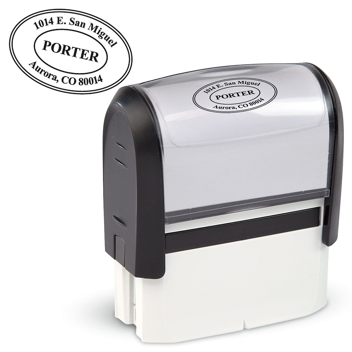 Oval Address Stamp-Black Ink-477861