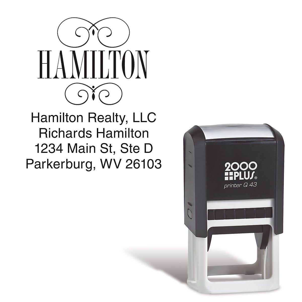 Last Name Square Address Stamp