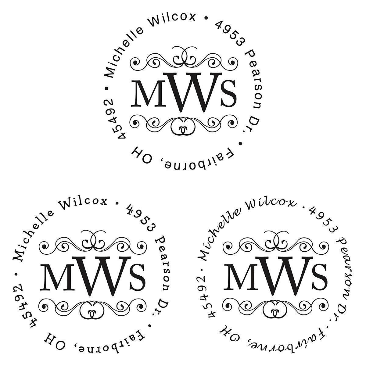 Round Monogram Address Stamp