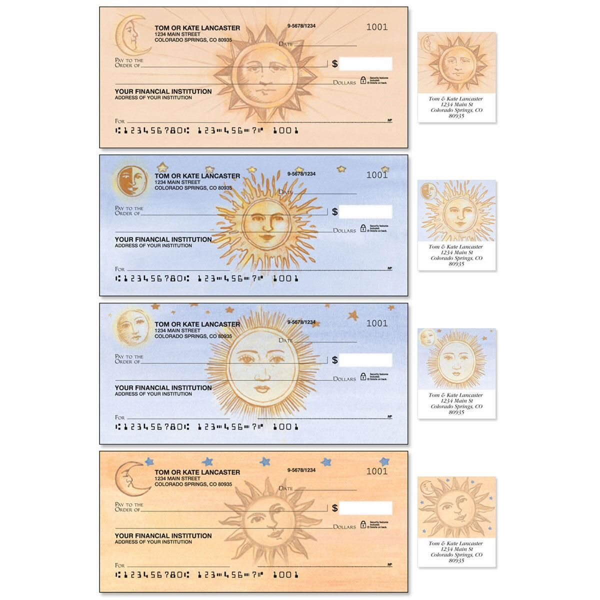 Sun and Moon Single Checks With Matching Address Labels