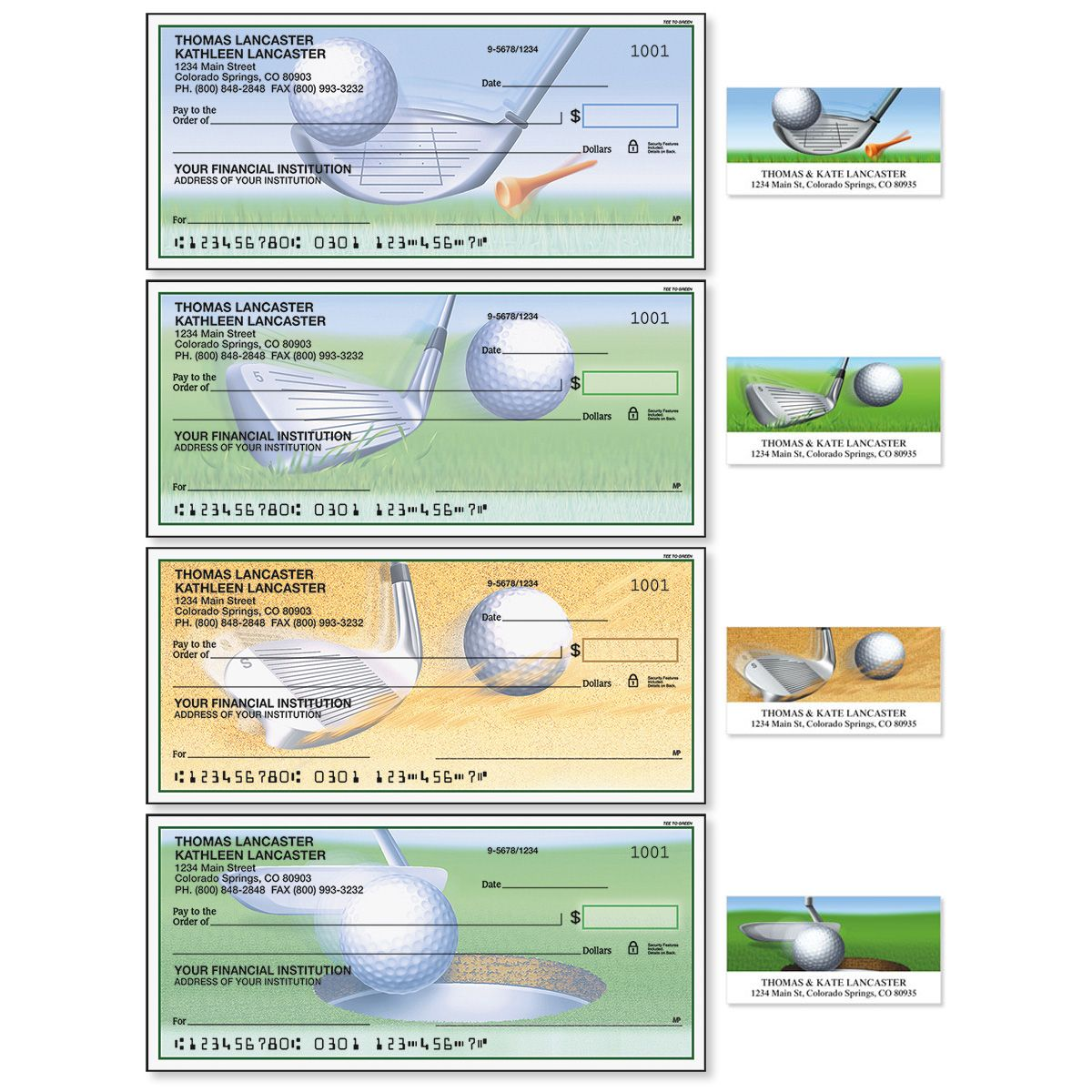 Tee to Green Single Checks With Matching Address Labels