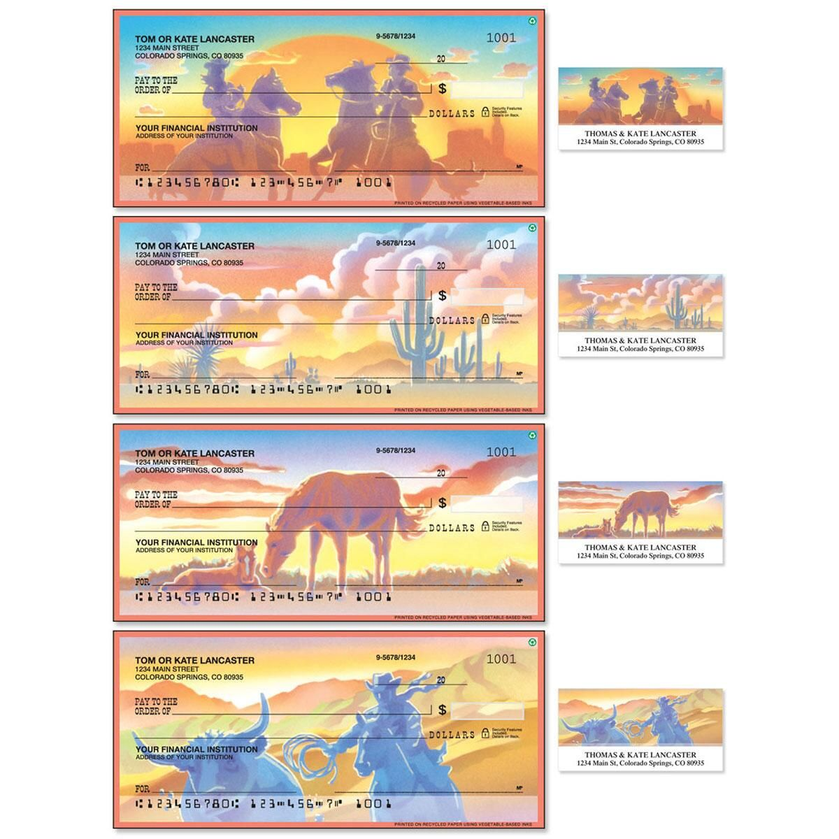 Western Country Single Checks With Matching Address Labels