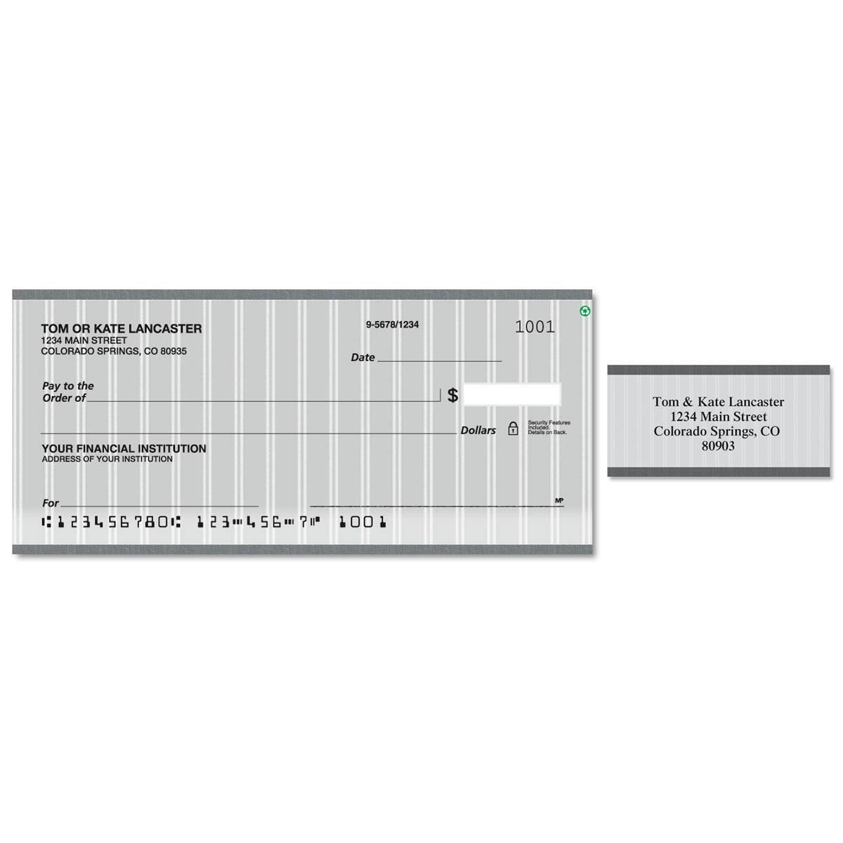 Pinstripe Single Checks With Matching Address Labels