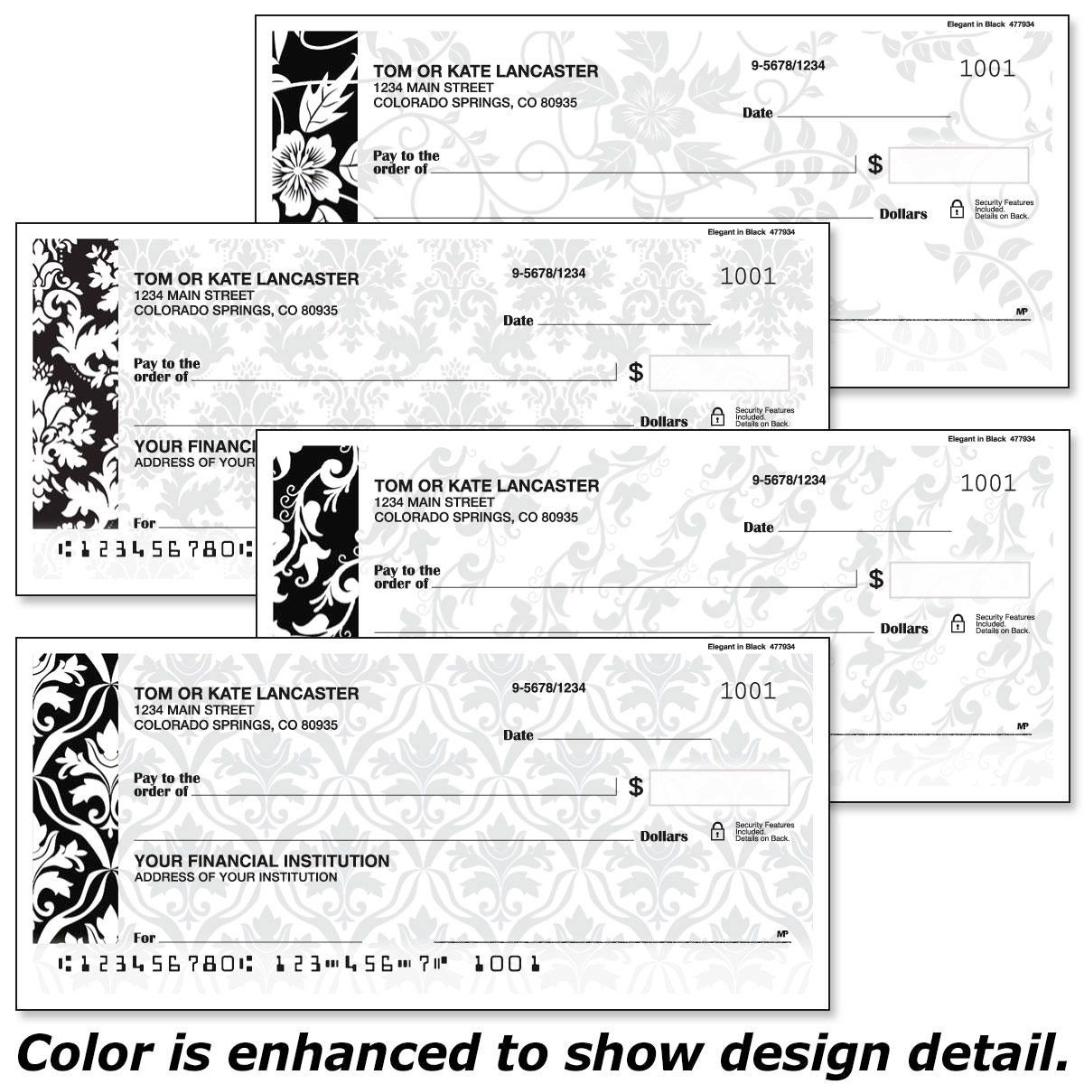 Elegant in Black Personal Checks