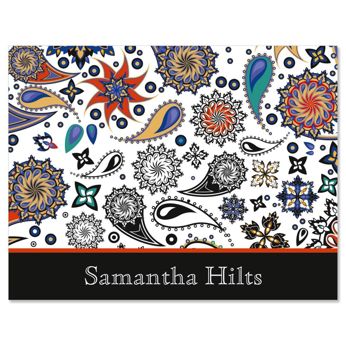Color Paisley Custom Note Cards