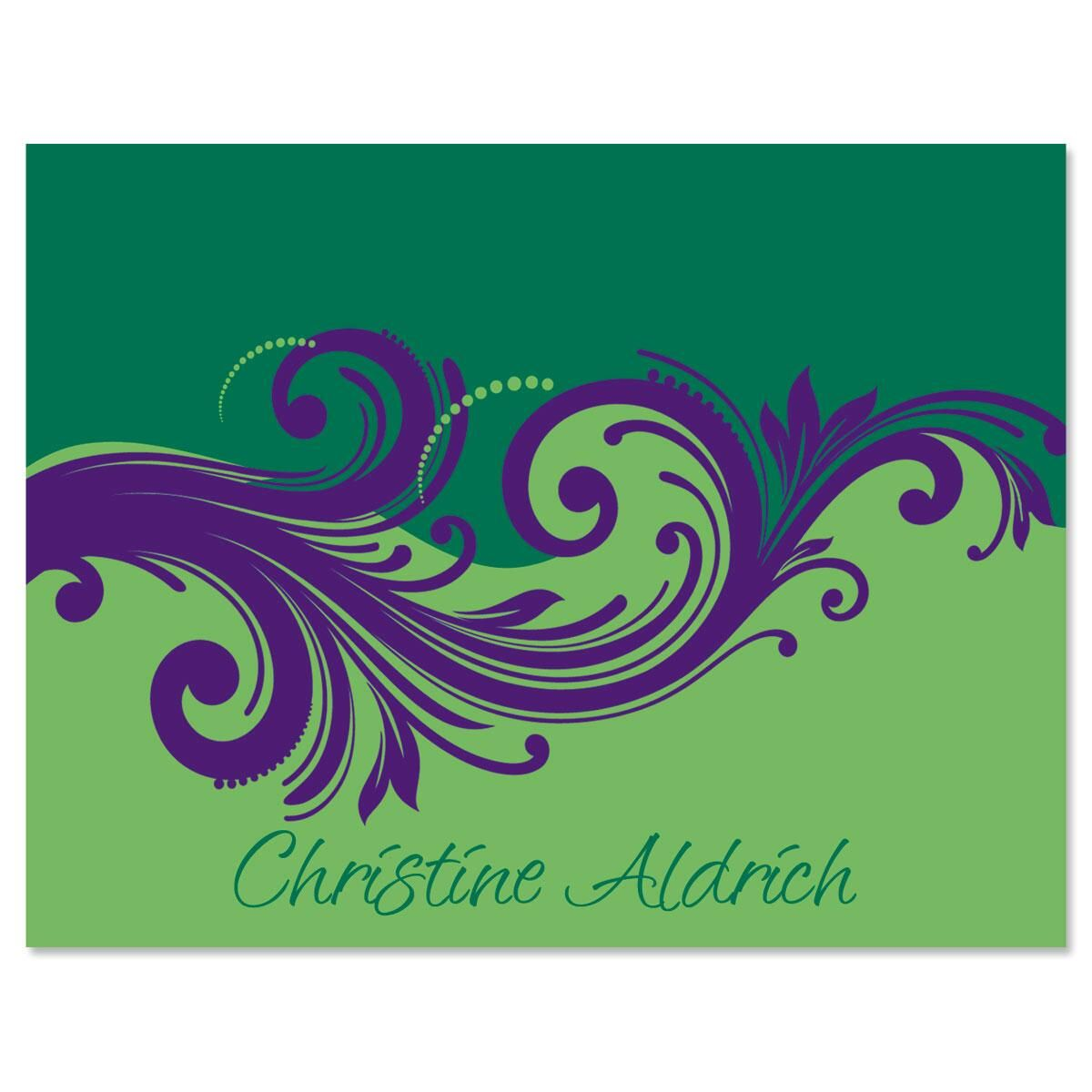 Emerald & Royal Personalized Note Cards