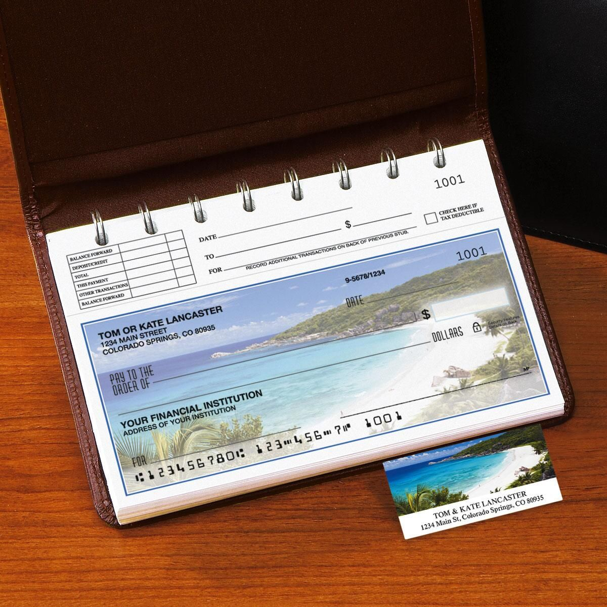 Tropical Paradise II Top-Stub Single Checks with Matching Address Labels