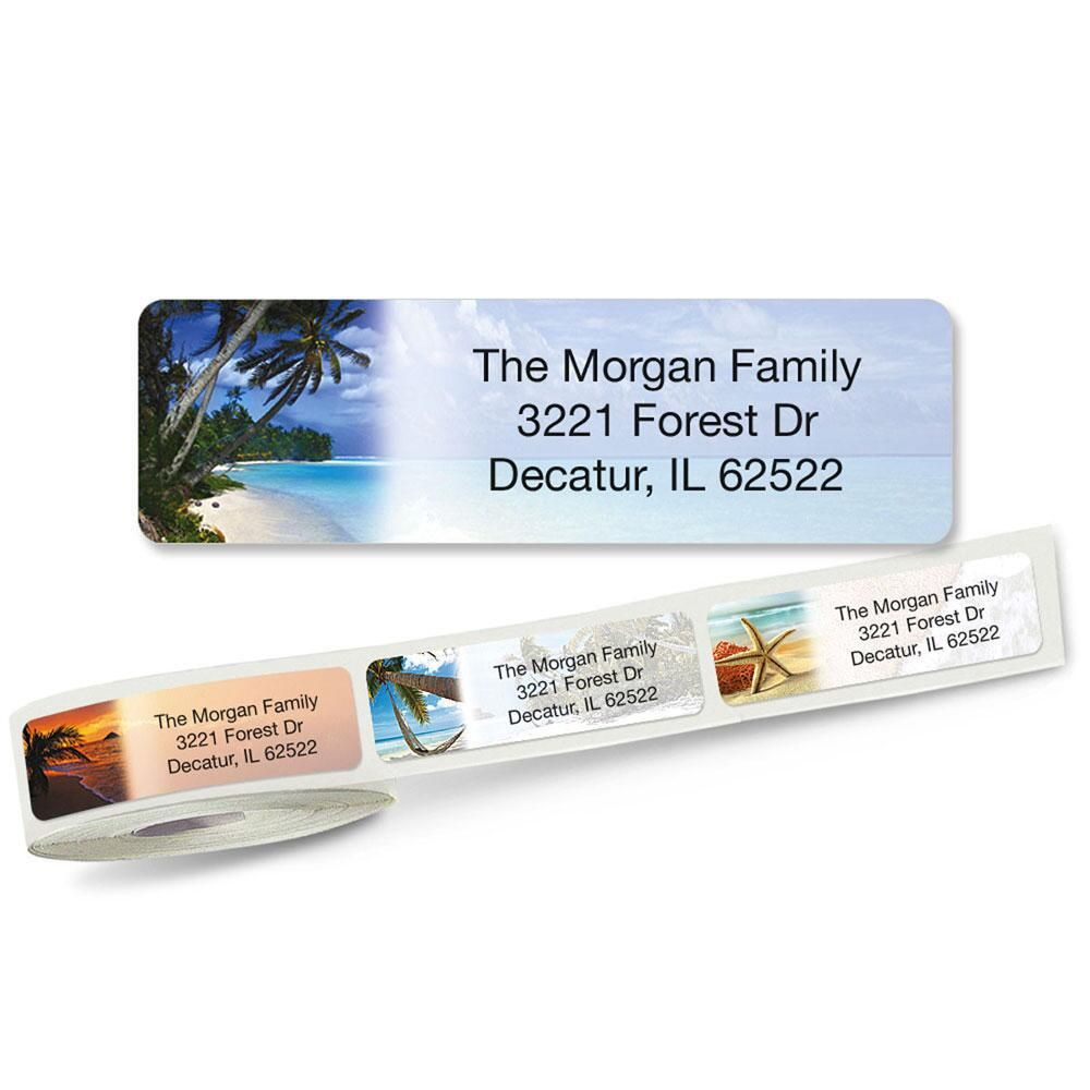 Tropical Paradise II Rolled Address Labels  (5 Designs)