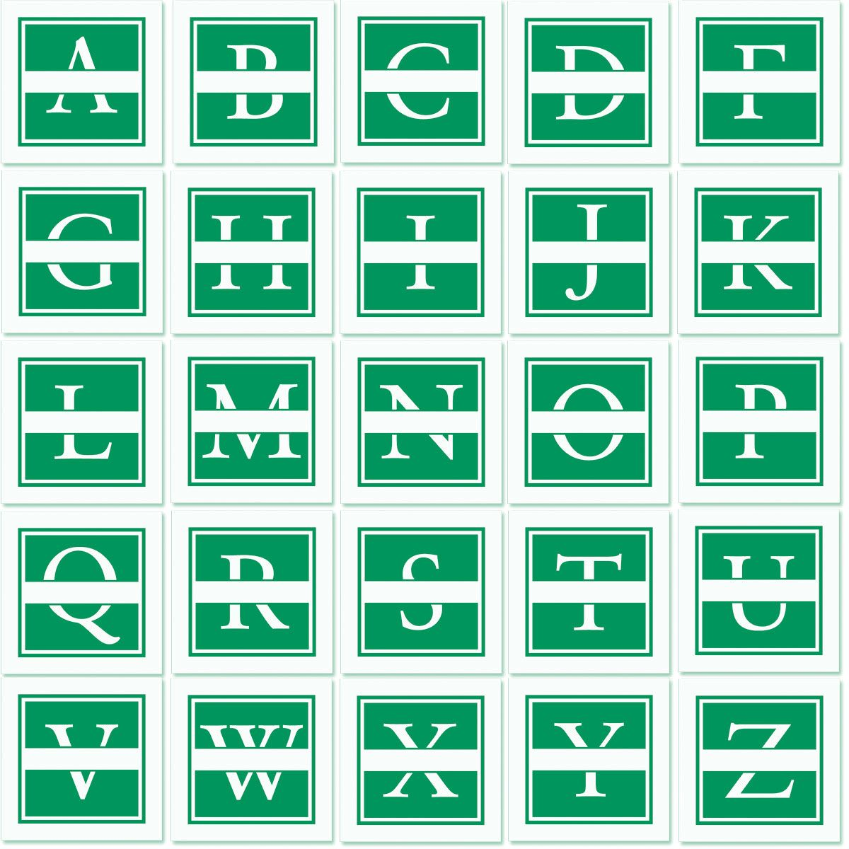 Front & Center Square Initial Address Stamp-Green-478037B