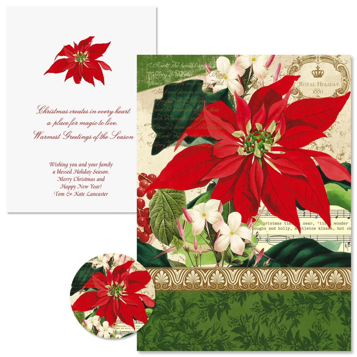 Winter Joy Poinsettia Christmas Cards -  Nonpersonalized