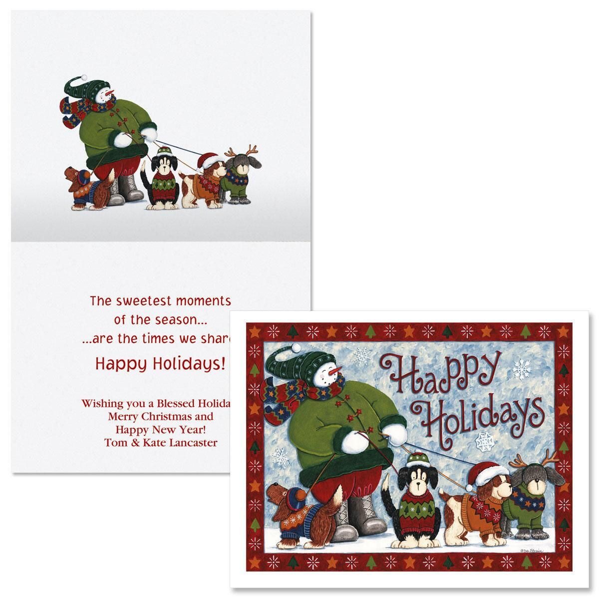 Holiday Friends  Note Card Size Christmas Cards