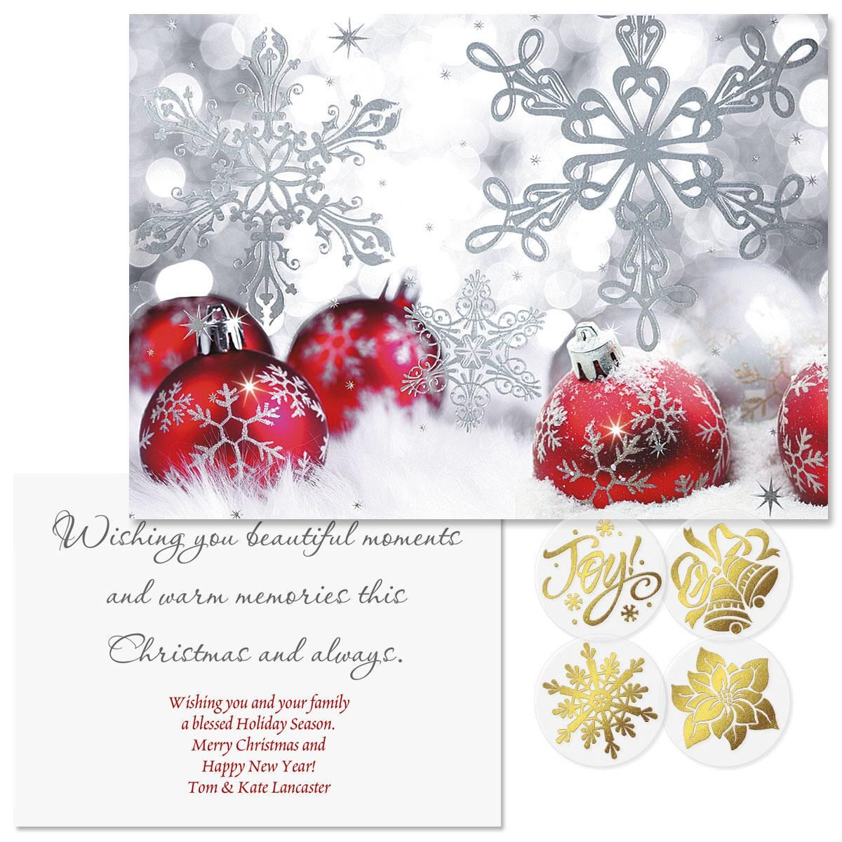 Silver Shimmer Foil Christmas Cards -  Personalized
