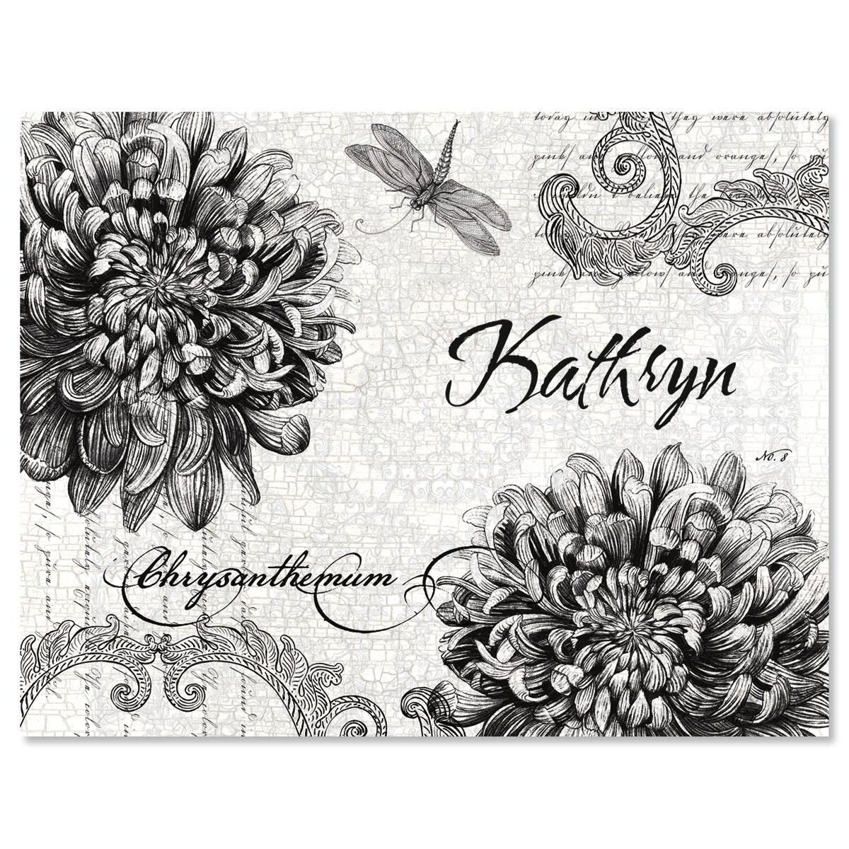 Botanical Black & White Custom Note Cards