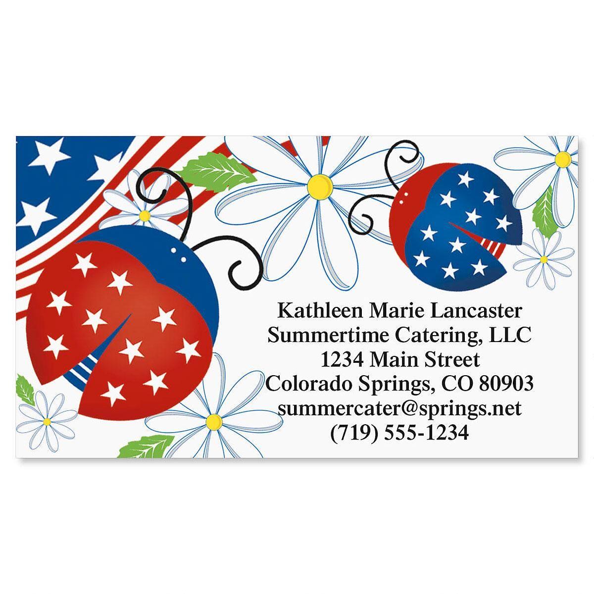 Patriotic ladybug business cards colorful images patriotic ladybug business cards colourmoves