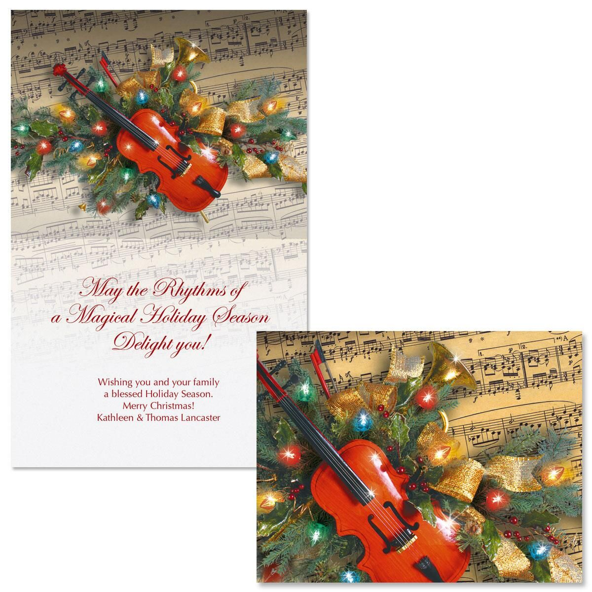 Christmas Music Note Card Size Christmas Cards | Colorful Images