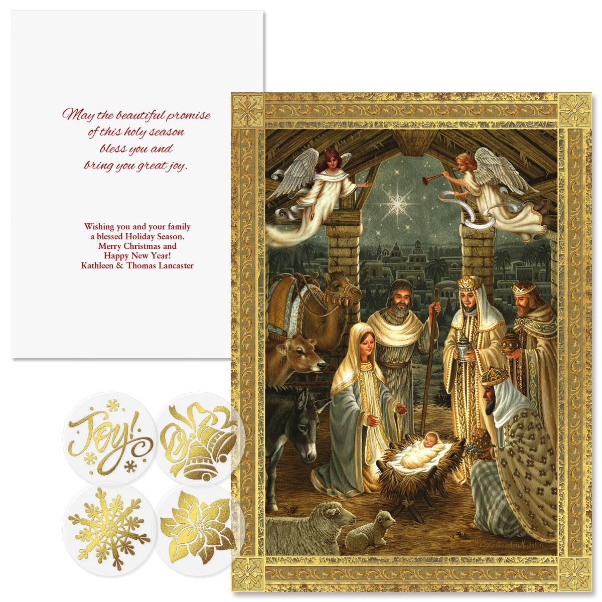 Golden Nativity Foil Christmas Cards - Personalized