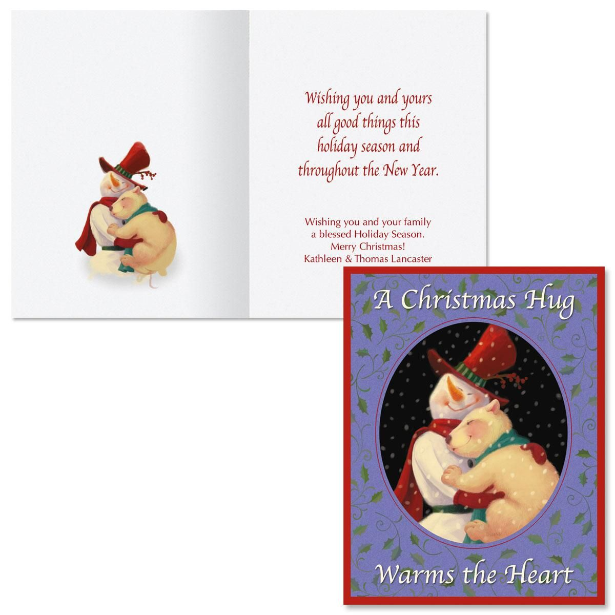 Holiday Hugs  Note Card Size Christmas Cards