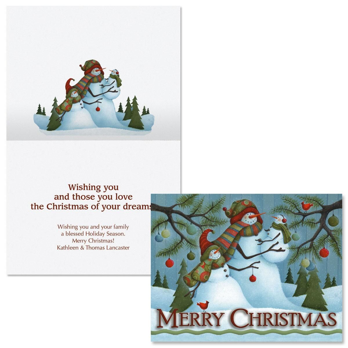 Merry Christmas Family Note Card Size Christmas Cards