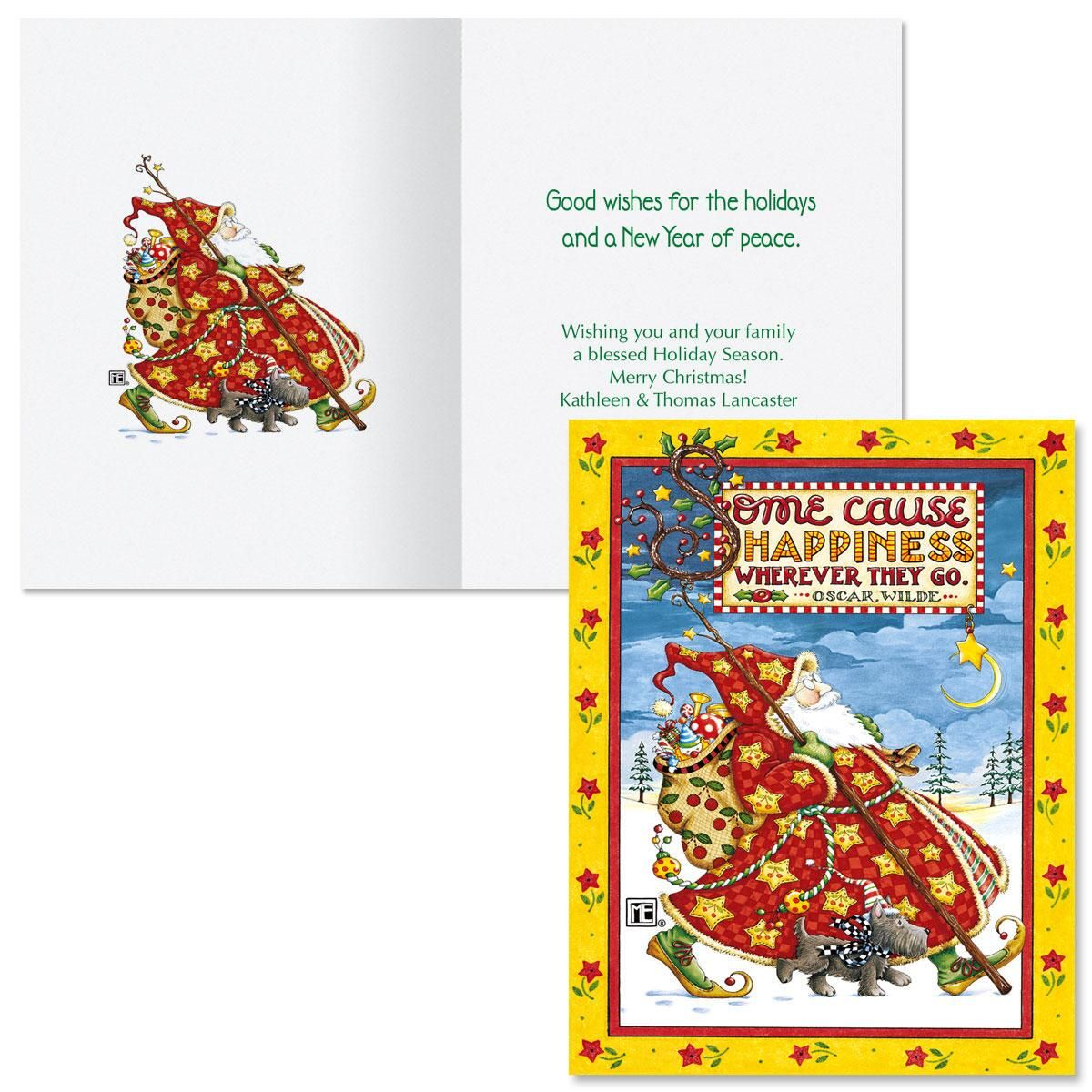 Check Cherry Santa Note Card Size Christmas Cards