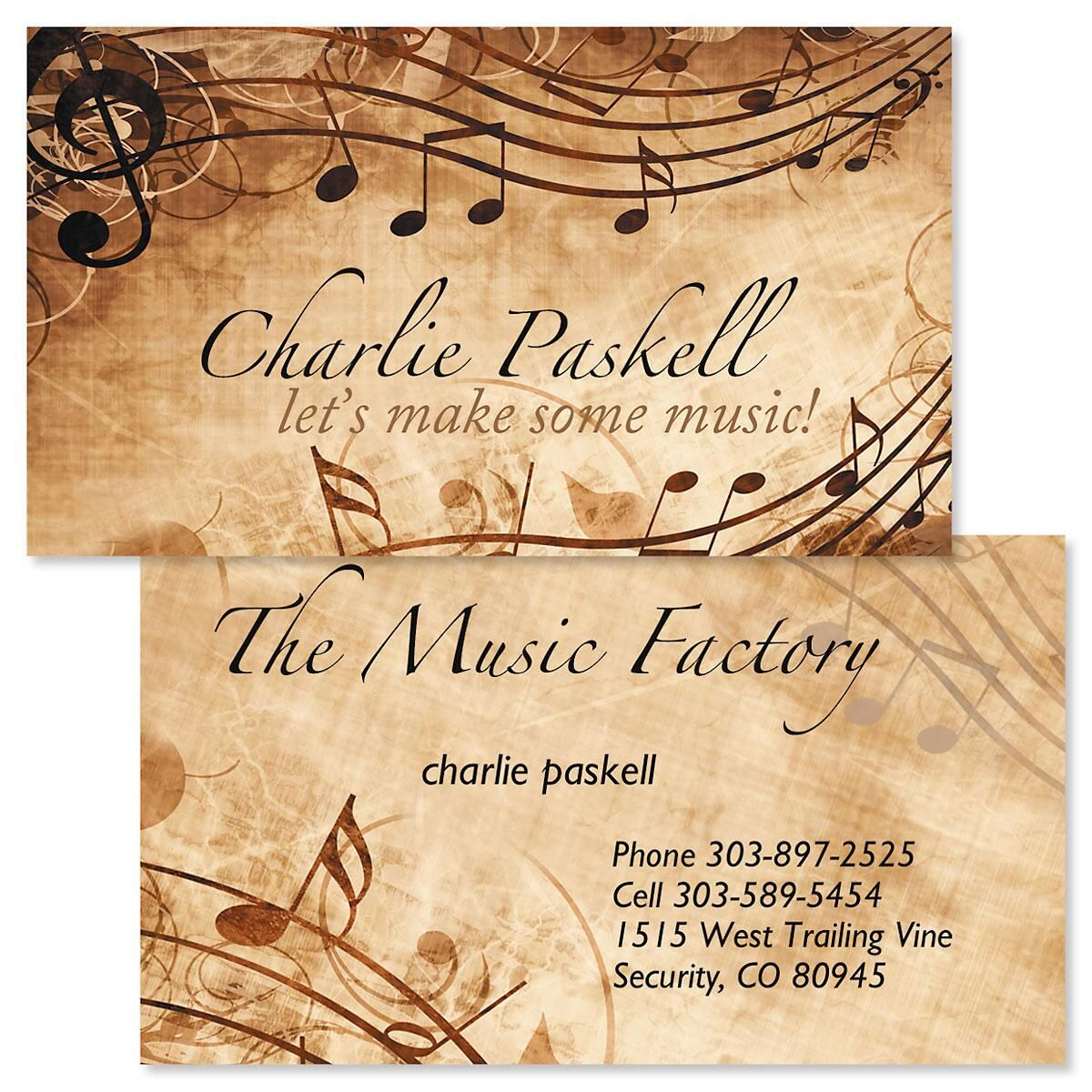 Sheet Music Double-Sided Business Cards