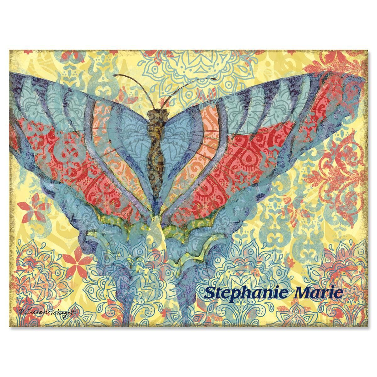 Elaborate Butterflies  Custom Note Cards