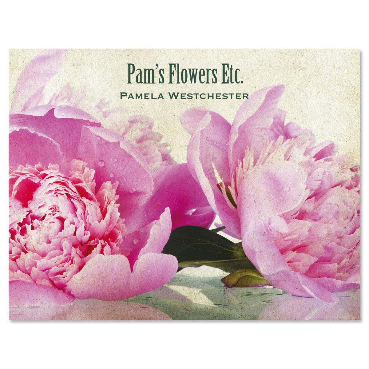 Casual Peony  Custom Note Cards