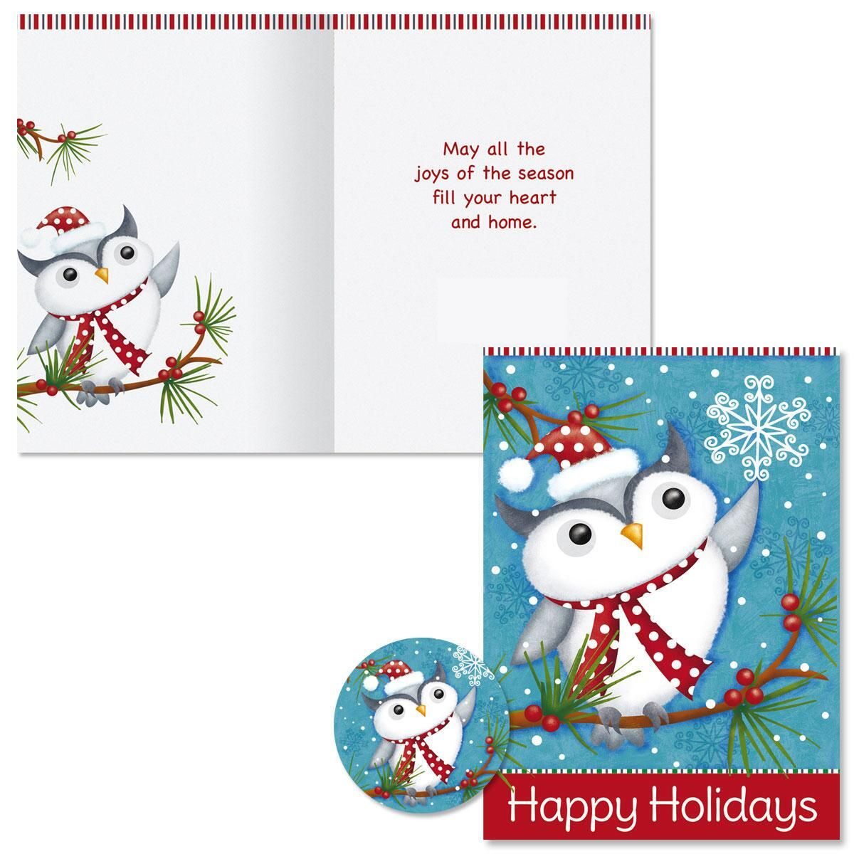 Happy Holiday Owl Christmas Cards | Colorful Images